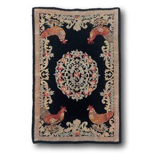 French Rooster & Floral Medallion Wool Accent Rug